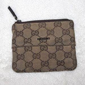 Authentic Gucci Monogram Zip Pouch Wallet